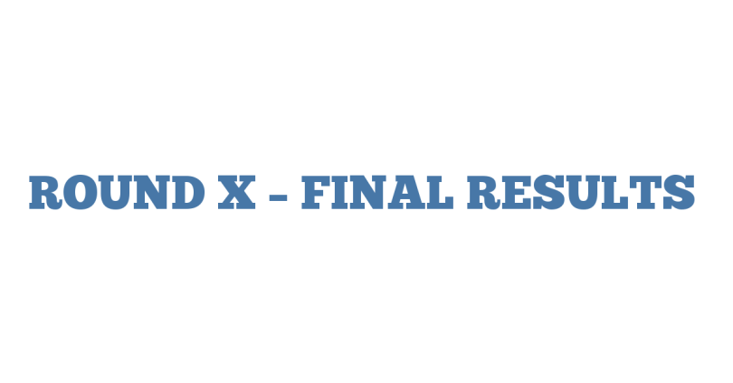 ROUND X – FINAL RESULTS