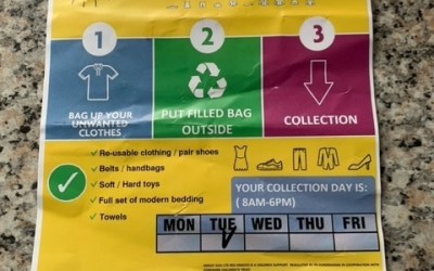 Clothing Collection Fraud: Smiley Sun Leaflets