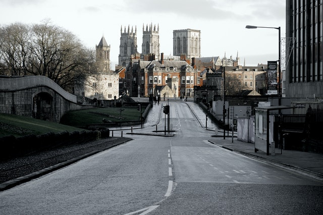 View of York city centre from a distance, York Minster is visible in the background