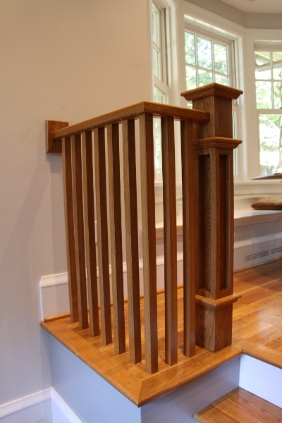 Yeager Woodworking Furniture And Cabinetry Handrail Newel Posts   Handrail To Newel Post   Craftsman Style   Indoor Railing   Wood   Gray Stain   White Oak
