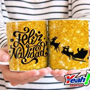 Taza Feliz Navidad Dorada