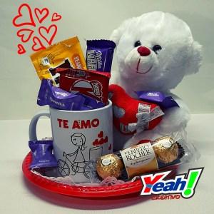 regalo San Valentín taza + peluche + chuches
