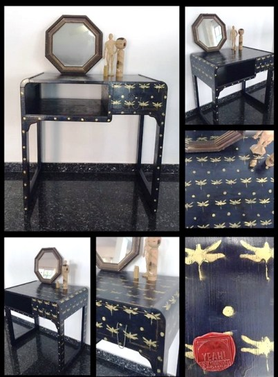 Little office desk, dark blue patine with golden stenciled dragonfly and varnish finishing!...