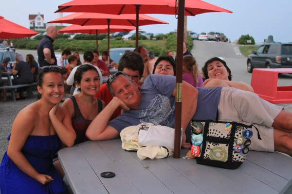 (l-r): Marisa, Celine, Ben (hiding), Megan, Sophie with husband Paul on the table