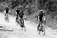 Skip Town leads a pack down a descent.