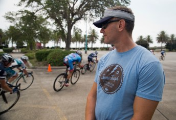 David Huff not only ponied up important funds to make the event happen, he also got down in the Cat 5 race.