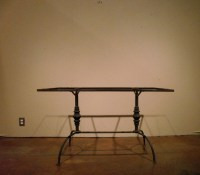 Wrought Iron trestle base Patio Table Milk glass top