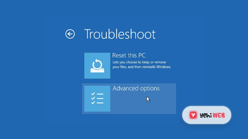 Troubleshoot Advanced Options Blue Screen Of Death BSOD - Yehiweb
