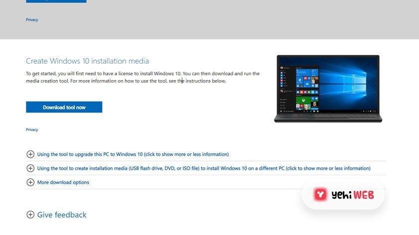 Download Windows 10 Tool Yehiweb