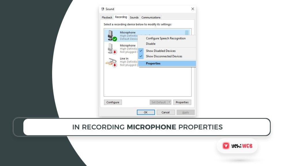 In recording microphone properties Yehiweb