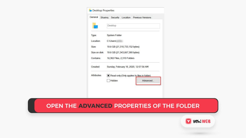 Open the Advanced Properties of the Folder Yehiweb