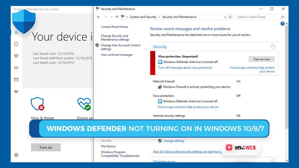 Windows Defender Not Turning on in Windows 10 8 7 Yehiweb