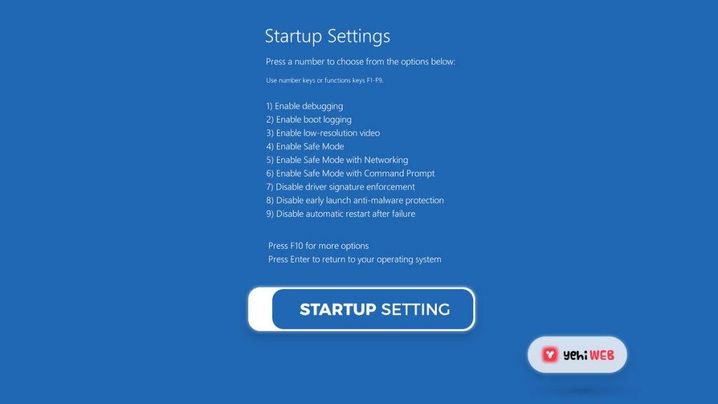 startup settings yehiweb