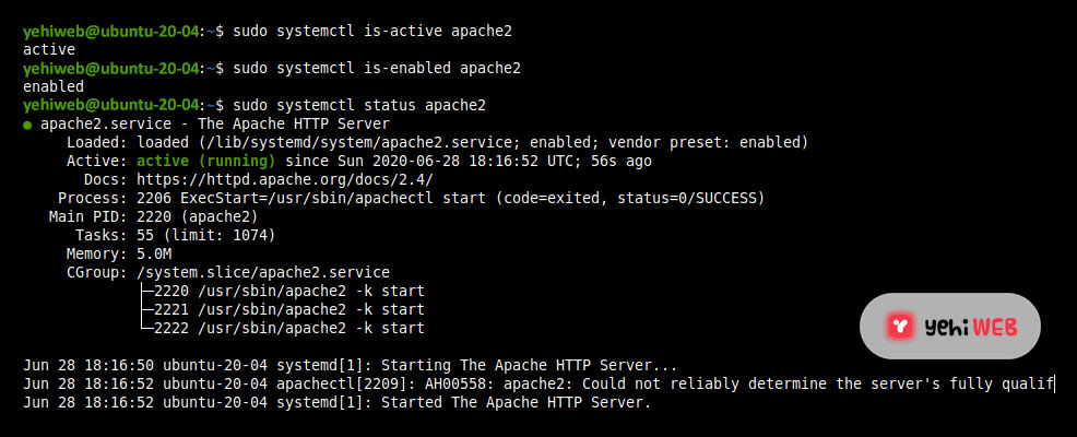 Check Apache Service in Ubuntu 20.04 Yehiweb