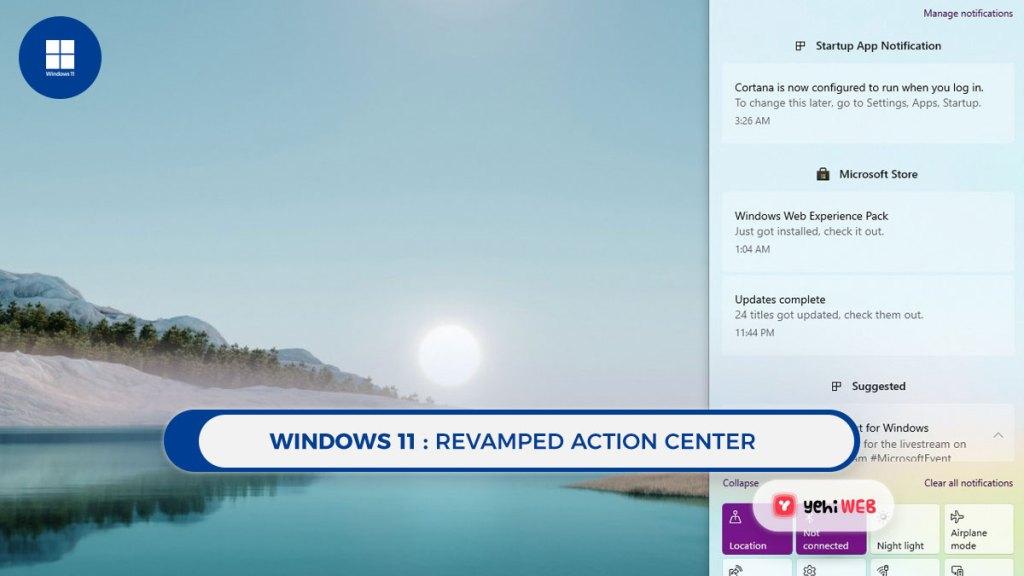 windows 11 revamped action center yehiweb