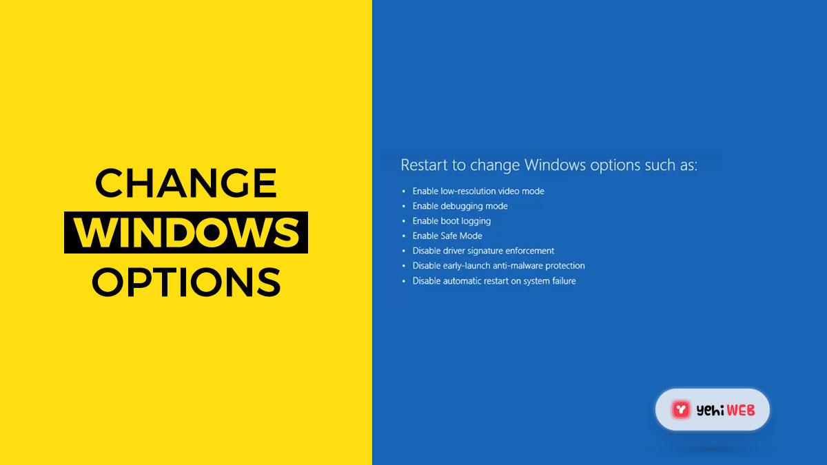 change windows options yehiweb