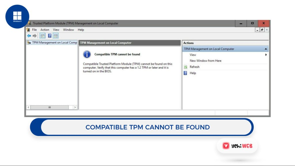 compatible TPM cannot be found Yehiweb