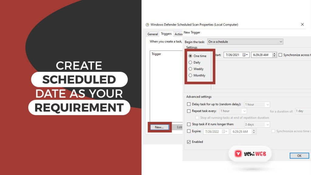 create scheduled date as your requirement yehiweb