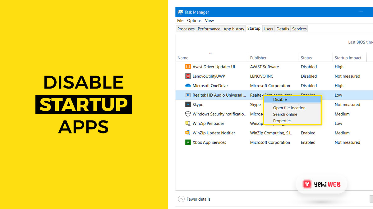 disable startup apps yehiweb