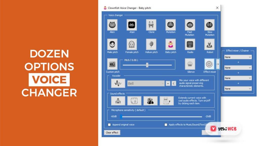 dozens options of voice changer yehiweb