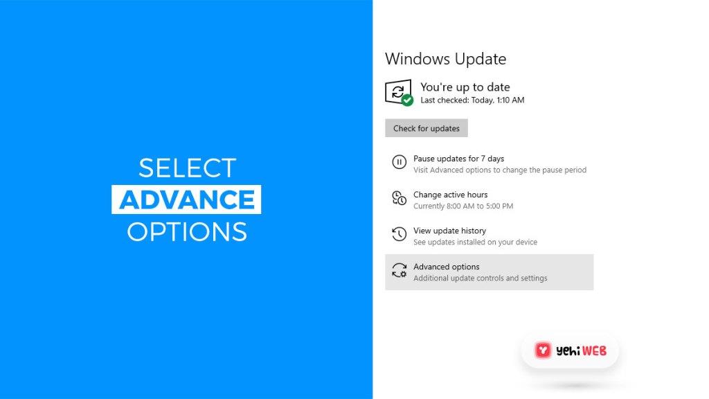 select advance options yehiweb
