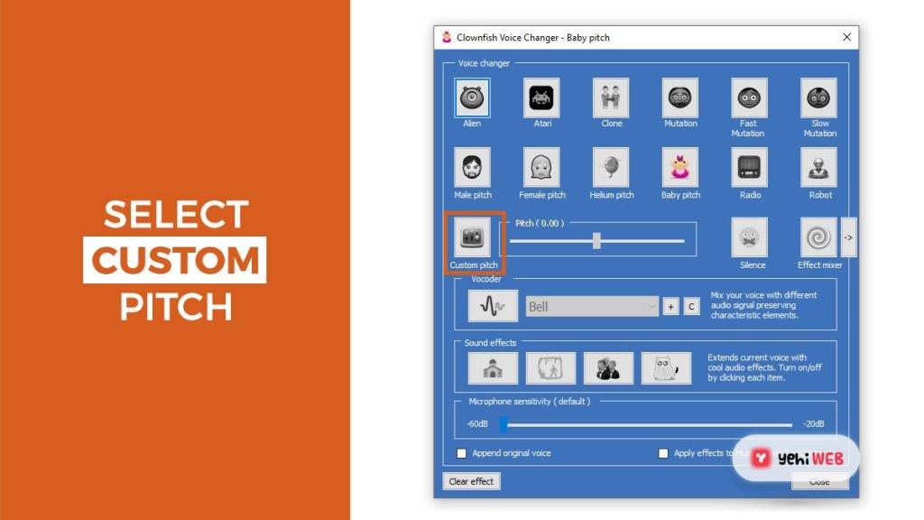 select custom pitch yehiweb