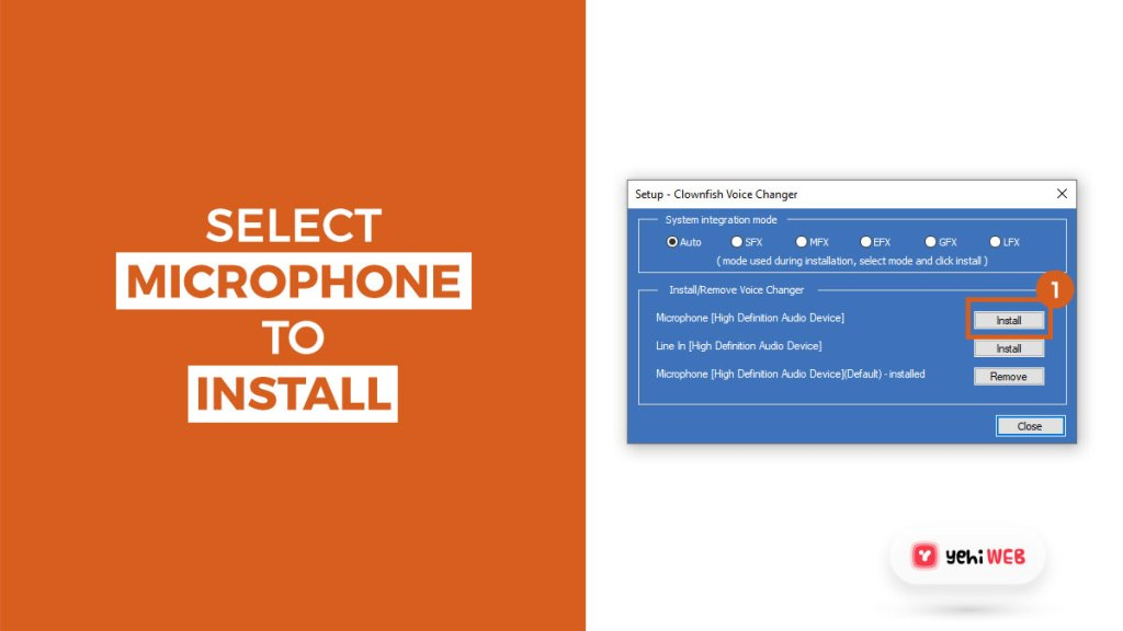 select microphone to install yehiweb