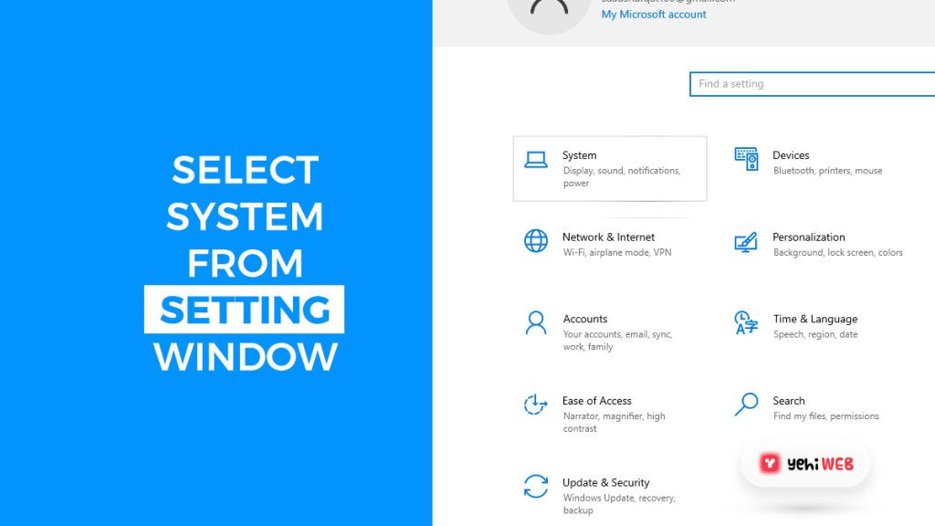 select system from setting windows yehiweb