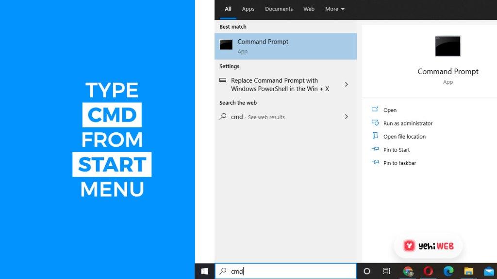 type cmd from start menu yehiweb