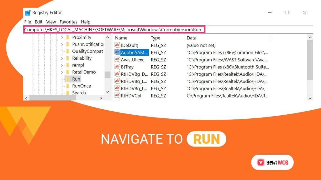 navigate to run yehiweb