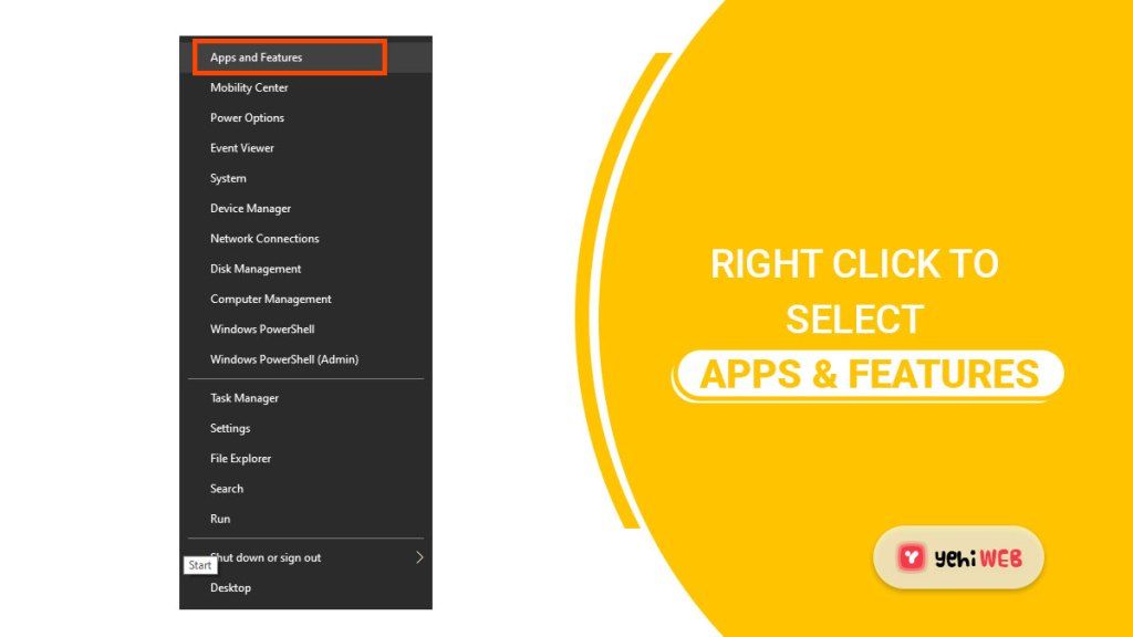 right click to select apps n features yehiweb