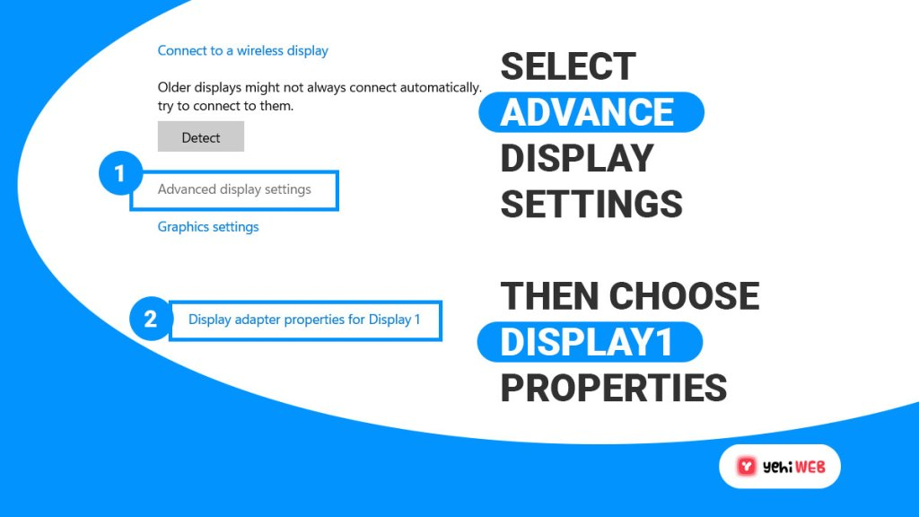 select advance display settings then choose display 1 properties yehiweb