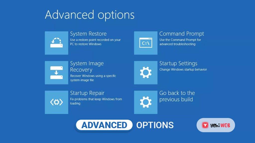 select advanced options yehiweb