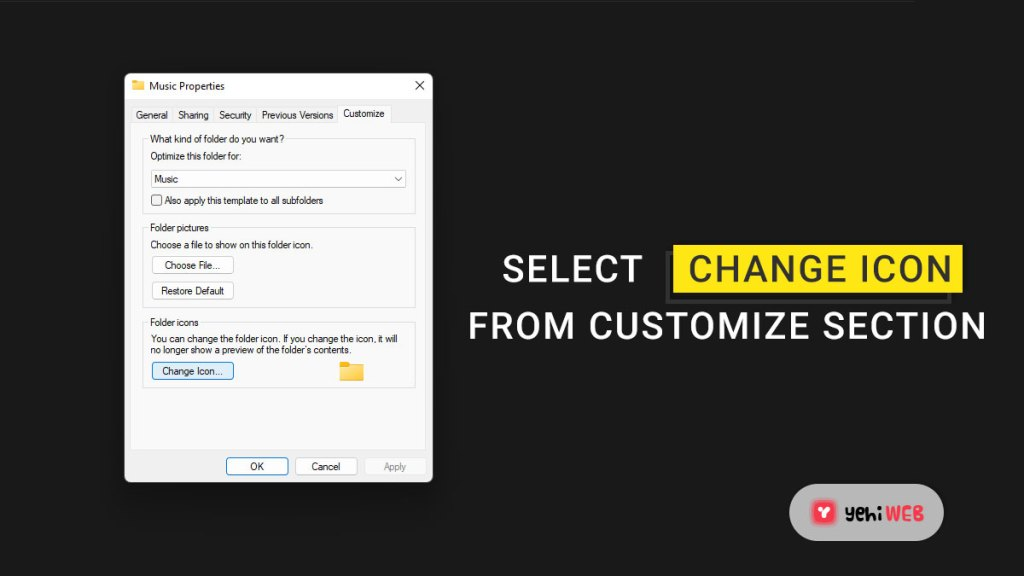 select change icon from customize section yehiweb