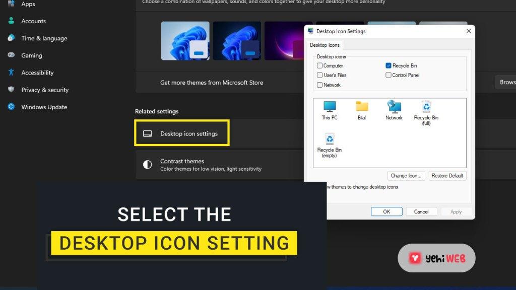 select the desktop icon setting yehiweb