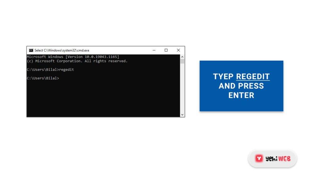 type regedit and press enter yehiweb