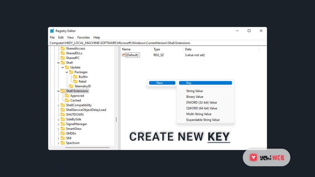 create new key yehiweb