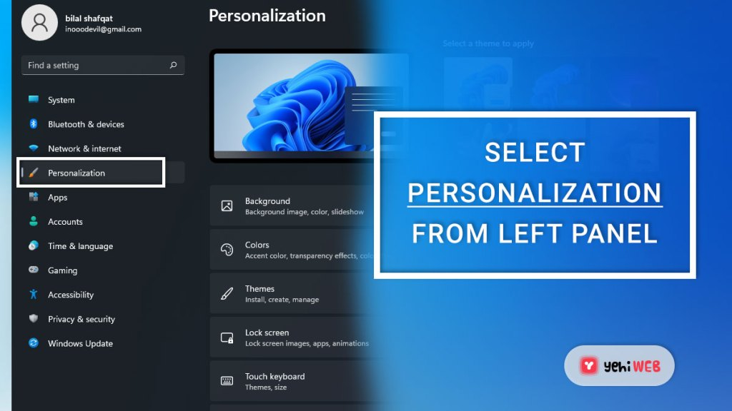 select personalization from left panel yehiweb