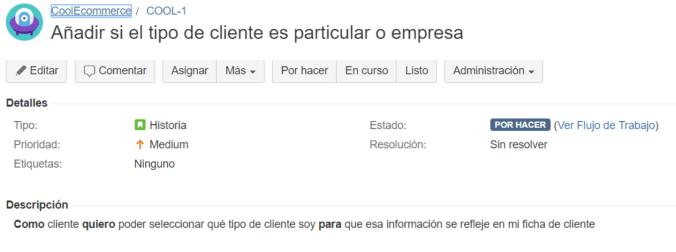 Historia de Usuario - JIRA