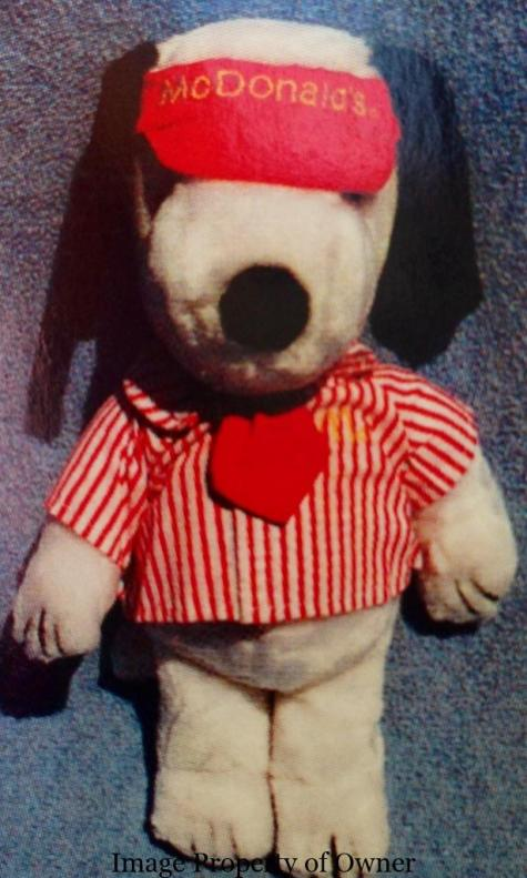 Snoopy in McDonald's crew uniform