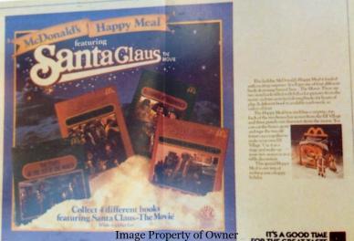 Santa Claus Happy Meal tray liner