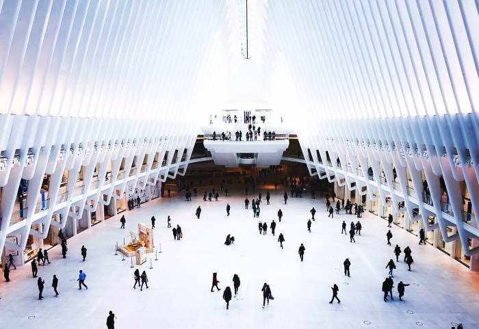 architettura, The oculus, New York di Calatrava visto dell'interno