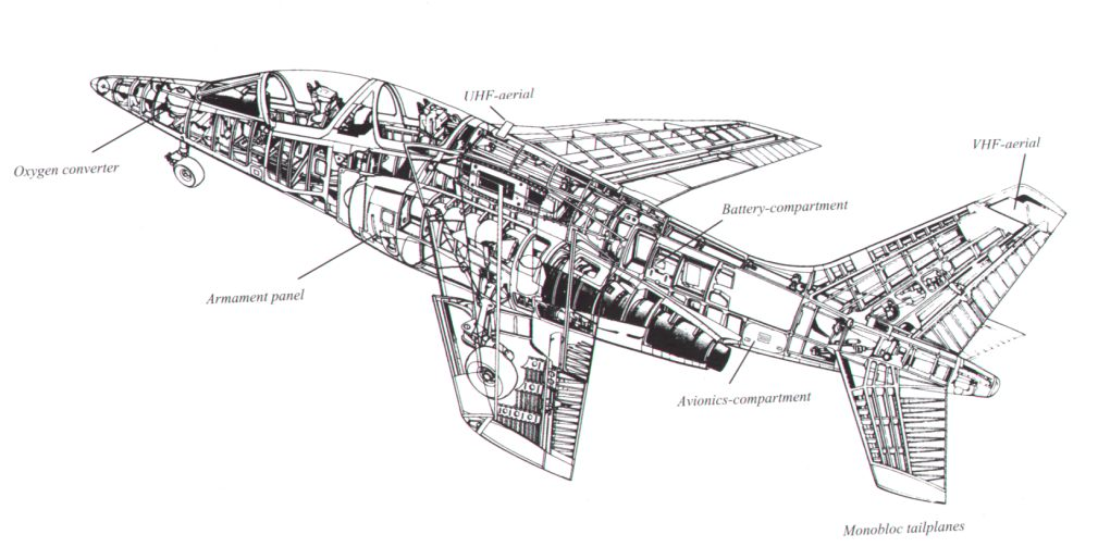 YellowAirplane.com: Alpha Jet Cutaway Drawing showing the