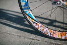 The wheel graphics were actually printed on vinyl. According to Szykowny, the wheels just weren't ready in time.