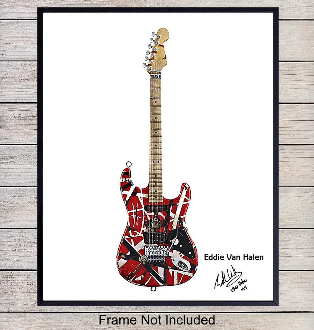 eddie van halen guitar art print wall