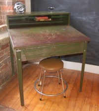 Yellow Chair Market  Small Metal Industrial Desk