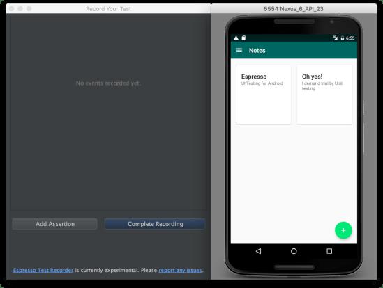 Android Studio - Espresso Test bắt đầu lưu vết