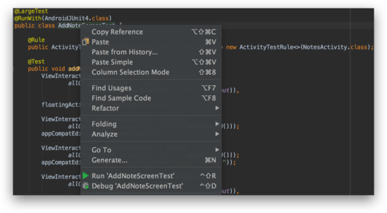 Android Studio - Thực thi file test