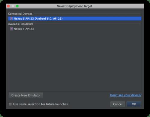Android Studio - Espresso Test chọn thiết bị để chạy