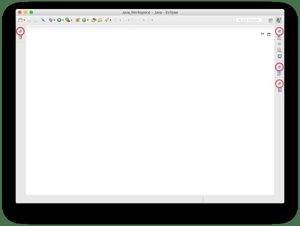 Tạo project Java - Eclipse thu nhỏ hết các cửa sổ con